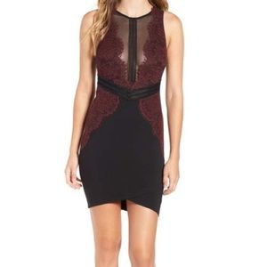 NWT ASTR Burgundy & Black Mesh Lace Bodycon Dress